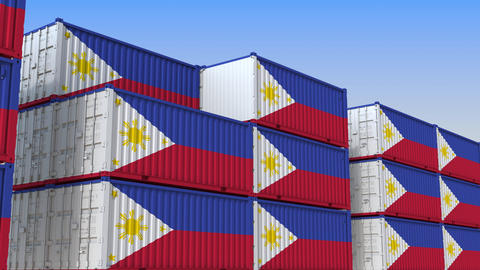 Container yard full of containers with flag of Philippines. Export or import Live Action