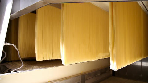 Spaghetti processing in a pasta Factory Footage