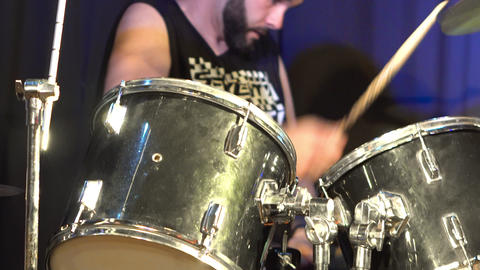 Musician Playing Drums And Cymbals At Concert Live Action