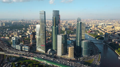 Aerial Moscow cityscape with business centre, river and heavy traffic Archivo