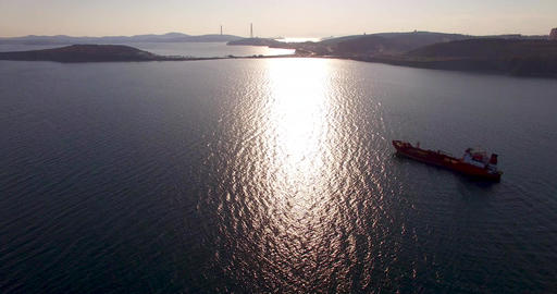 Aerial view of the seascape at sunset Footage