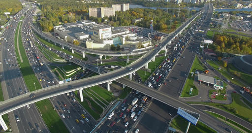 Intersections busy with traffic. Aerial view of Moscow, Russia Archivo