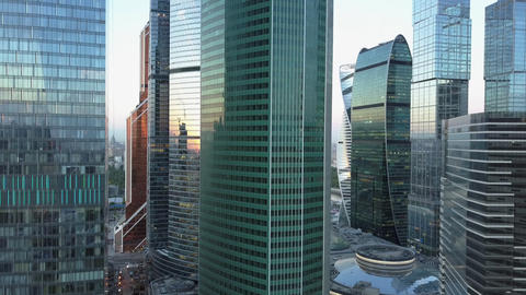 Skyscrapers in city downtown, aerial view Archivo
