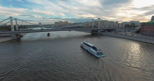 Moscow aerial scene with Crimean Bridge over the river, Russia Archivo