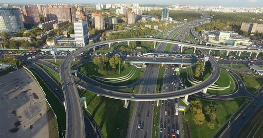 Aerial shot of Moscow cityscape with busy interchanges, Russia Archivo