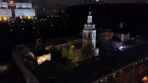 Aerial view of Andreevsky Monastery in night Moscow, Russia Archivo