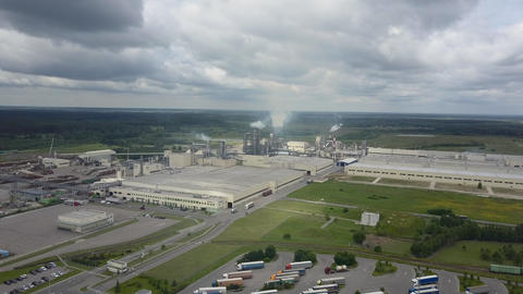 Aerial shot of wood-processing plant Archivo