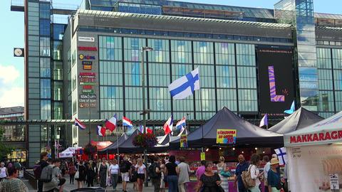 Market, trade on the street in Helsinki Footage