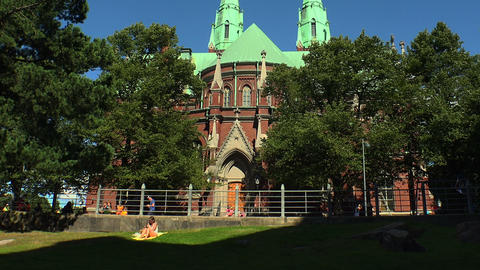 Temple of red brick in Helsinki. Finland Live Action