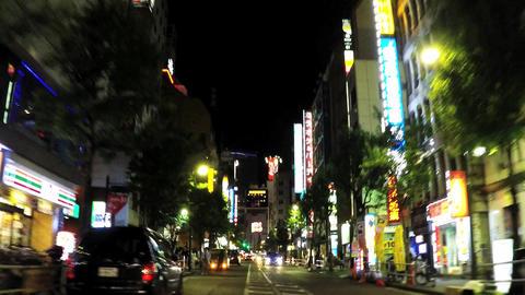 Tokyo, night car window./新宿区役所通り Footage