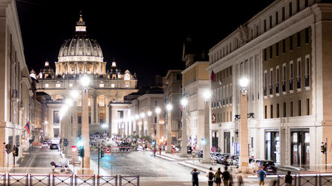 Timelapse of the main facade of the Basilica of San Pietro, Vatican. Rome Footage