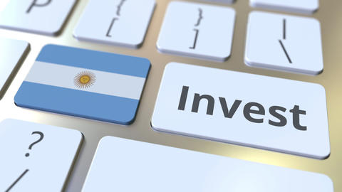 INVEST text and flag of Argentina on the buttons on the computer keyboard Live Action