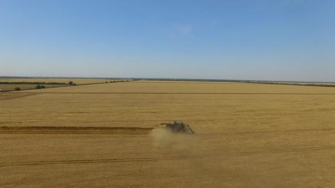 Flight over harvester soybean field aerial view 4k video. Harvest agriculture Footage