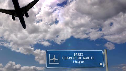 Airplane landing at Paris CDG Live Action