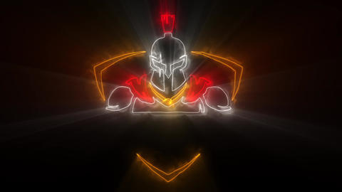 Colorful Spartan Warrior Animated Logo with Reveal Effect & Light Rays Animation