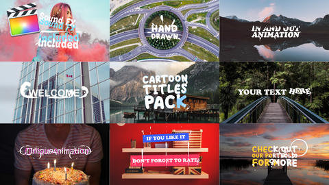 Cartoon Titles Pack Apple Motion Template