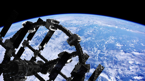 International Space Station in outer space over the planet Earth Live Action