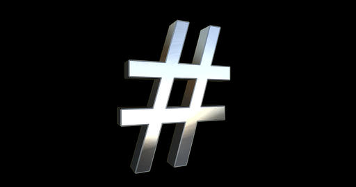 Hashtag Sign Realistic Metal Material - Black Background Live Action