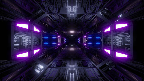 futuristic science-fiction technical tunnel corridor 3d illustration background Animation