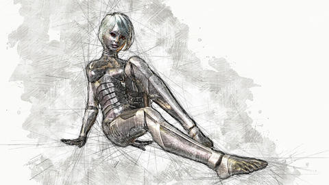 Digital Animation of an artistic Sketch, based on a self-created 3D Illustration of a female Cyborg, Animation