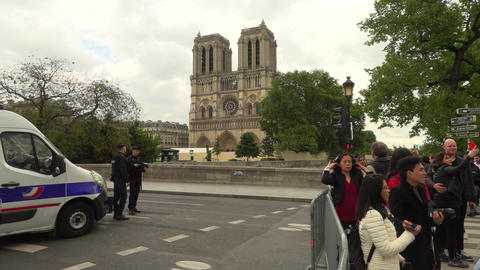 Paris, France, 20 May 2019 - Notre-Dame Cathedral after fire with scaffolding Footage