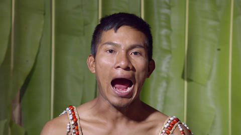 Adult Man Opening And Closing The Mouth In Ecuador Live Action