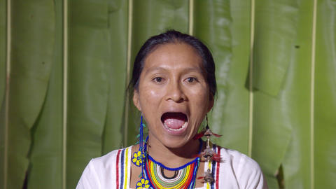 Woman Opening And Closing The Mouth In Ecuador Live Action
