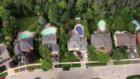 Aerial Establishing Shot of the Suburbs in Late Spring, Summer Footage