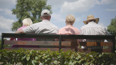 Two adorable mature couples sitting on the bench and talking together. Mature Live Action