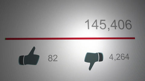 4K Display of Highly Disliked Online Video Watch and Popularity Counters 3 Animation