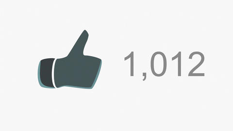 4K Thumb Up Like Counter Counts Up Online Popularity Concept 3 Animation