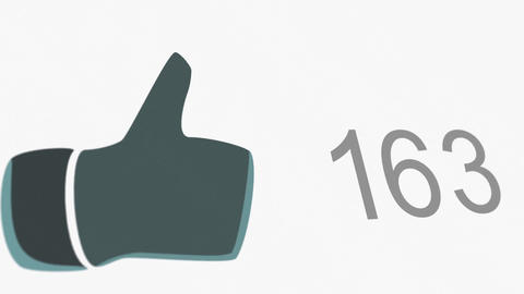 4K Thumb Up Like Counter Counts Up then Blinking Online Popularity Concept 2 Animation