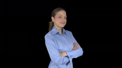 Happy arms crossed working female professional (Transparent Background) Footage