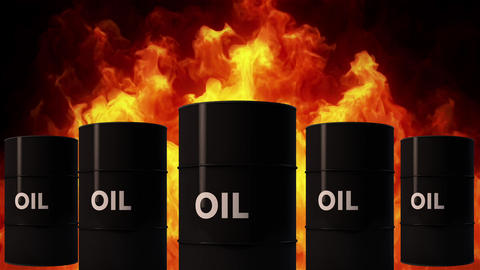 4K Oil Barrels in Raging Fire Oil Price Crisis Concept 2 Animation