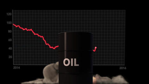 4K Raging Fire Blast and Barrel Price Chart behind Oil Barrel Animation