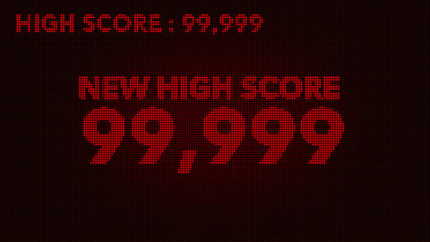 4K Hit High Score and Game Over Retro Video Game Display 1 Stock Video Footage