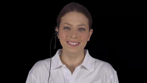 Friendly customer service female in an office ビデオ