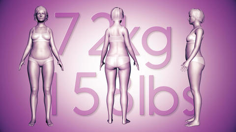 4K Simulation of a Fat Woman Loosing Body Weight and BMI Index 8 Animation