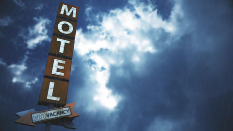 4K Old Grungy Motel Sign in Strong Thunder Timelapse 2 Animation