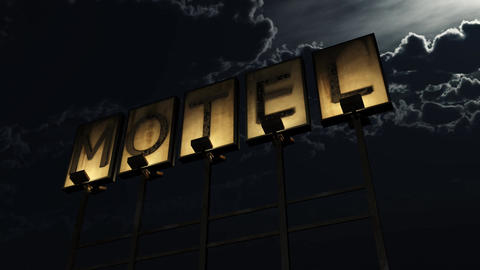 4K Old Grungy Motel Sign On the Road at Night 1 Animación