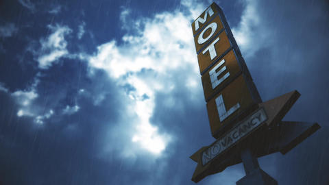 4K Old Grungy Motel Sign in Strong Thunder Timelapse 3 Animation