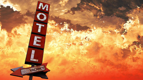 4K Old Grungy Motel Sign On the Road in a Wonderful Sunset v2 1 Animation