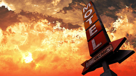 4K Old Grungy Motel Sign On the Road in a Wonderful Sunset v2 2 Animation