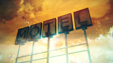 4K Old Grungy Motel Sign On the Road in a Wonderful Sunset with Lightrays 1 Animation