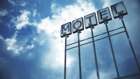 4K Old Grungy Motel Sign under Daytime Cloudy Sky Timelapse 1 Animation