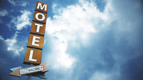 4K Old Grungy Motel Sign under Daytime Cloudy Sky Timelapse 4 Animation