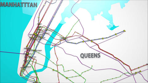 4K Subway Lines and Stations in Manhattan and Queens New York City 1 Animation