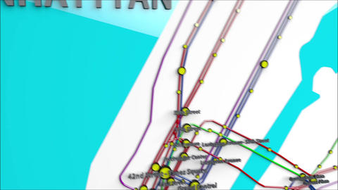 4K Subway Lines and Stations Moving from Manhattan to Queens New York City Animation