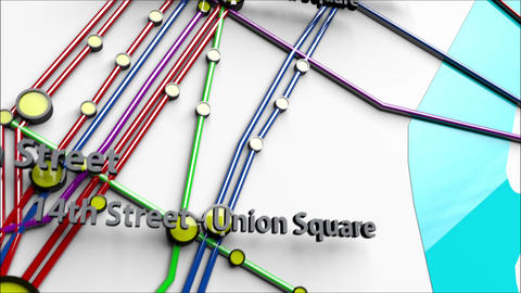 4K Subway Lines and Stations in Manhattan New York City 1 Animation