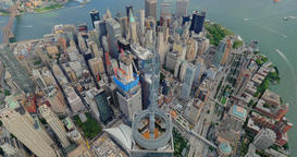 Aerial View of Freedom Tower in Lower Manhattan New York City Footage